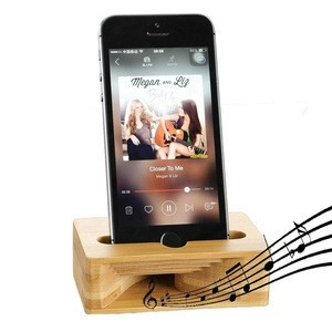 Bamboo Desktop Cell Phone Stand Holder with Sound Amplifier Within 5.5 Inches