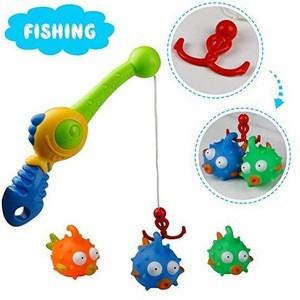 Bath Toys Fishing Game for Children Rubber Floating Bath Fishing Rob for Kids Children Girls Boys 2 3 Years