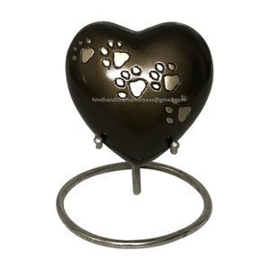Brown cremation urns for ashes Heart shape with paw pet urns pet dog cat ashes storage jar urn