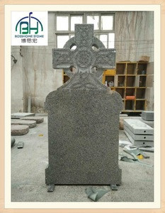 Classical design grey G603 cross tombstone and monument , cross cemetery monuments