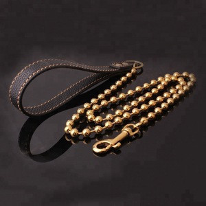 DAICY Top quality pet stainless steel bead link gold plated dog lead chain