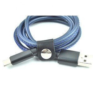 High Quality Leather Style Mobile Phone USB Data Cable