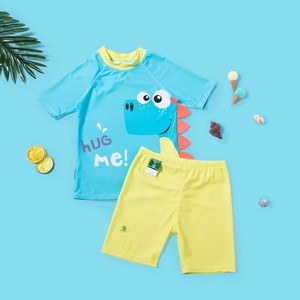 Hot sale original design cute two-piece swimsuit with swimming cap for boys European and American style