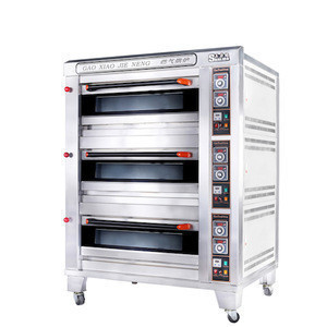 Luxury Stainless Steel three decks six trays industrial commercial pizza or bread gas oven