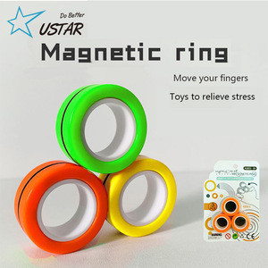 Magnet Decompression Toy New Novelty Stress Relief Finger Stacking Magnetic Spinner Ring Toy