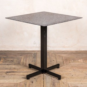 Modern small square cast iron black steel metal base dark stone terrazzo garden outdoor table for hotel cafe