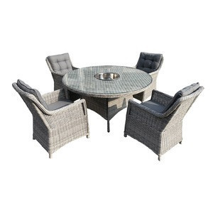 Outdoor Garden Furniture Rattan Round Table  with ice bucket 7pcs Dining Set
