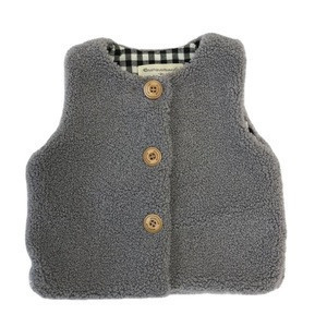 Selling collarless gray with customizable logo polyester vest tops kid vest