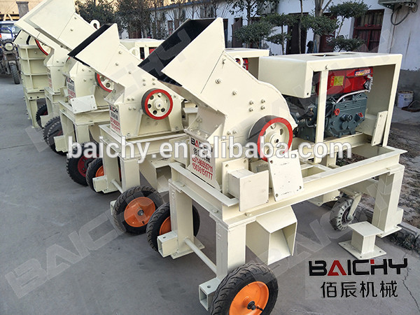 Small/Mini Diesel Engine PC400x300 Hammer crusher with Big Wheels