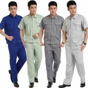 Summer Solid Color Button Pocket Design Clothing Project Technician Work Uniform Overall Workwear Shirt