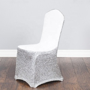 Wholesale Shinny Stretchy Cheap Universal Spandex Lycra Fitted Banquet Sequin Chair Cover