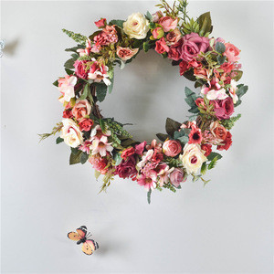 Wholesale wall decoration wedding design 40cm rose flower wreath artificial