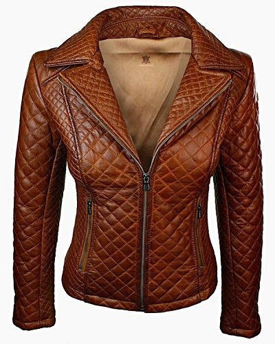 Women Quilted Sheepskin Fashion Leather Jacket Tan Brown