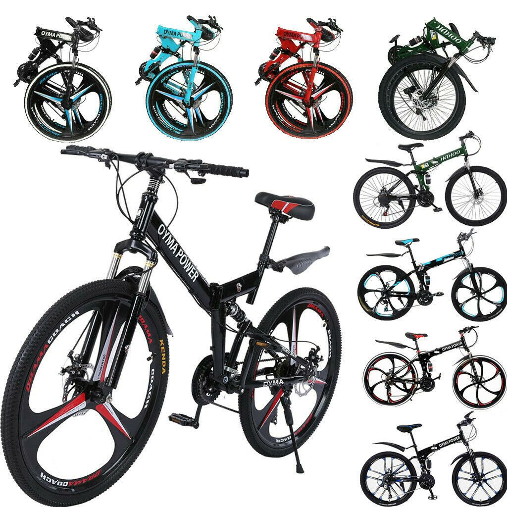26'' Folding Mountain Bike 21 Speed Bicycle Full Suspension MTB Bike Disc Brakes