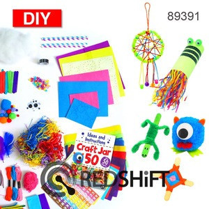 Craft Jar 50 assorted mega giant pack pipe cleaners pompom sewing art and craft kids diy educational toy kit supplies set