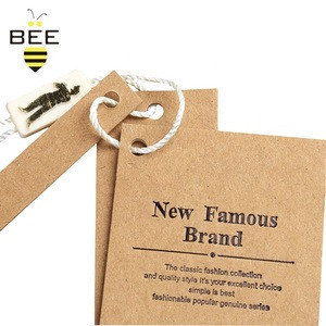 Eco Friendly Recycled paper card,logo Printing Customized Hangtags Shenzhen Clothing Tag