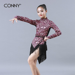 Fashion Girls Black Lace Long Sleeves Dress with Fringed Hem Latin Dance Wear Training+Dancewear