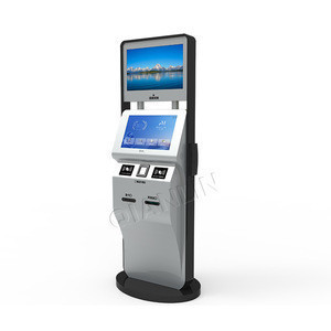 Floor standing 19 inch touchscreen  with card reader and cash acceptor self payment kiosk