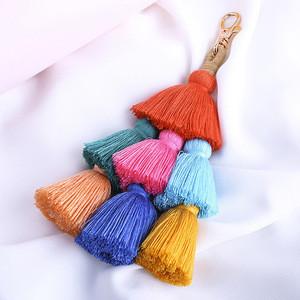 Handmade Boho Layered Silk tassel Fringe keychain for handbag Purse Charm Tassel Pendant