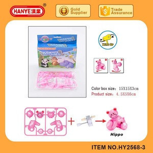 HY2568-3 ABS DIY Assembly Hippo Wind up Toys