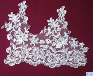 Manufacturer design embroidery ivory bridal lace trim