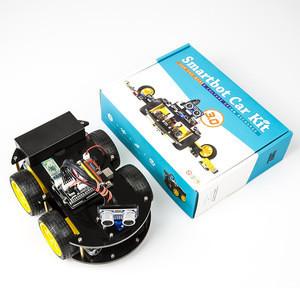 Program Robot 4WD Cars APP RC Remote Control Bluetooth Robotics Learning Kit For Arduino Educational Stem Children Kid Toys