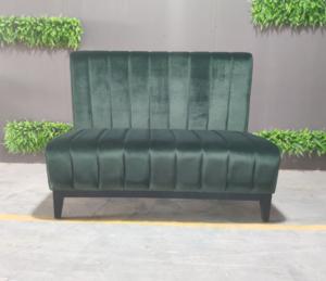 Restaurant sofa green velvet booth seating custom make Long bench wood legs restaurant furniture sets
