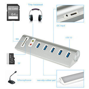 USB 3.0 Hub 5 Ports with SD/TF Card Reader and External Stereo Sound Adapter Combo and 5V/4A Power Supply for PC and Laptops