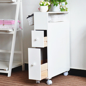 Wholesale white wooden storage bathroom cabinet with basket drawer