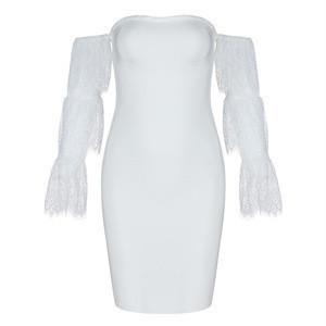 CLDS6 new summer women's dressage dress sexy black lace long-sleeved lace club dress