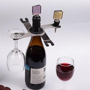 Collapsilbe steel wine bottle glass holder 1615020