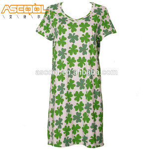 Comfortable Popular Small Cherry And Floral Printing Ladies Cotton Nightshirts