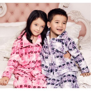 Cozy warm printed terry flannel pajamas set coral fleece sleep wear for unisex kids