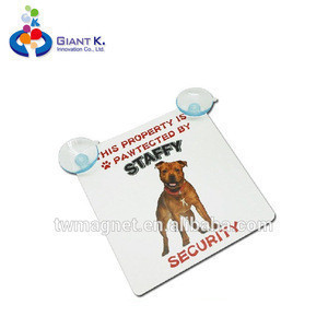 Customized beware of dog staffy plastic hanging door sign