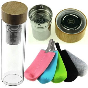 Double Wall Glass Tea Infuser Water Bottle With Bamboo Lid