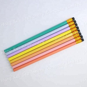 Eco friendly natural wood-based colored hb pencil with top eraser
