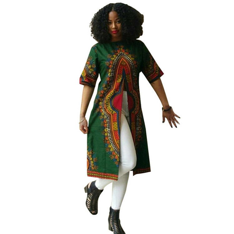 Green African Crew Neck Slit Casual Women Summer Fashion African Clothes