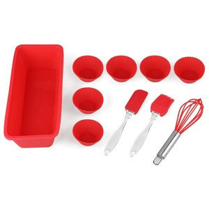 Justa Amazon Hot Sale Red  Baking Mold With Silicone Spatula ,Brush, Whisk,Cake Cup  For Baking and Mixing