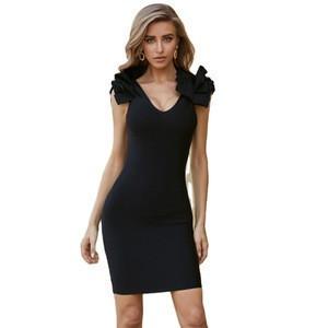 L2524 Women's Bandage V Neck Elegant Ruffle Shoulder Black Bodycon Cocktail Party Dress