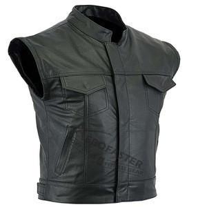 Mens Motorbike Real Leather Vest Waist coat Cruiser Jacket