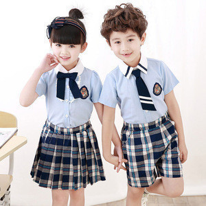 New design shirts and plaid skirt pant elementary school uniform