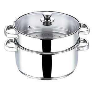 Stainless Steel Steamers with Glass and Stainless Steel Lids