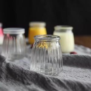 Wholesale empty striped  glass yogurt jar with plastic lid