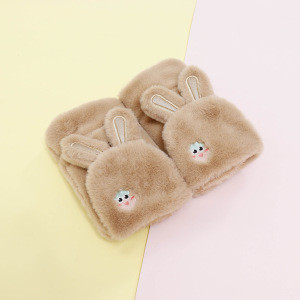 Winter flip Clamshell half finger gloves for kids women fleece touch screen Stitching antifreeze plush inner mittens