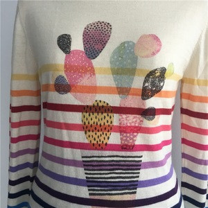 Womens High Fashion New Trend Personalized Cactus Design Digital Printed Rainbow Stripe Cashmere Pullover Sweater