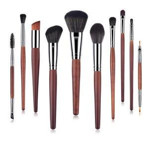 Wooden 10PCS Makeup Brushes set Cosmetic Foundation Eyebrow Eyeshadow Eyeliner Brush Professional Makeup Brush Sets Tool