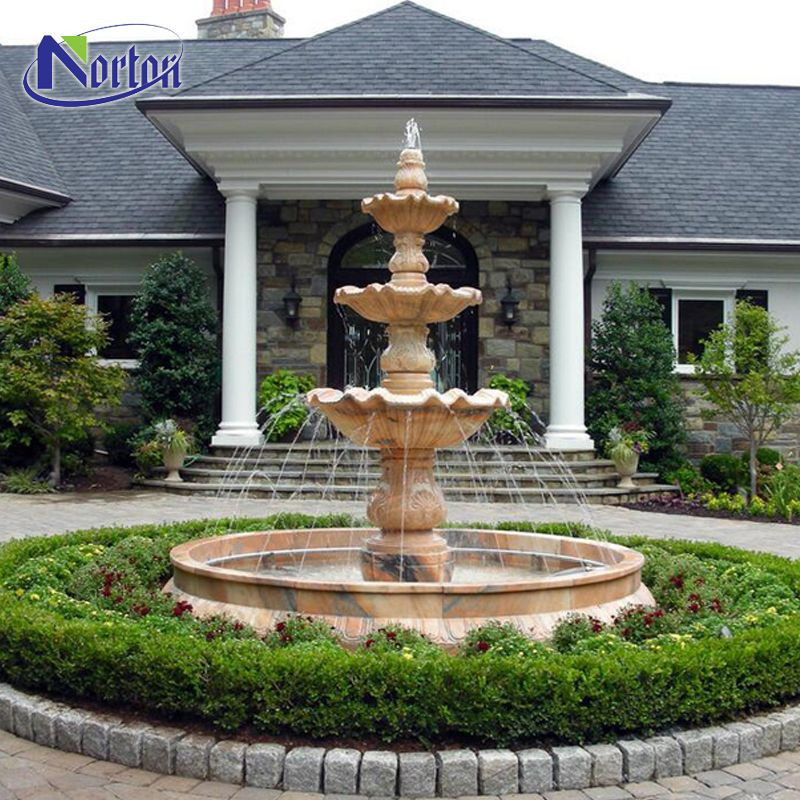 Chinese supplier custom yard outdoor garden decorative natural stone sunset red marble water fountain