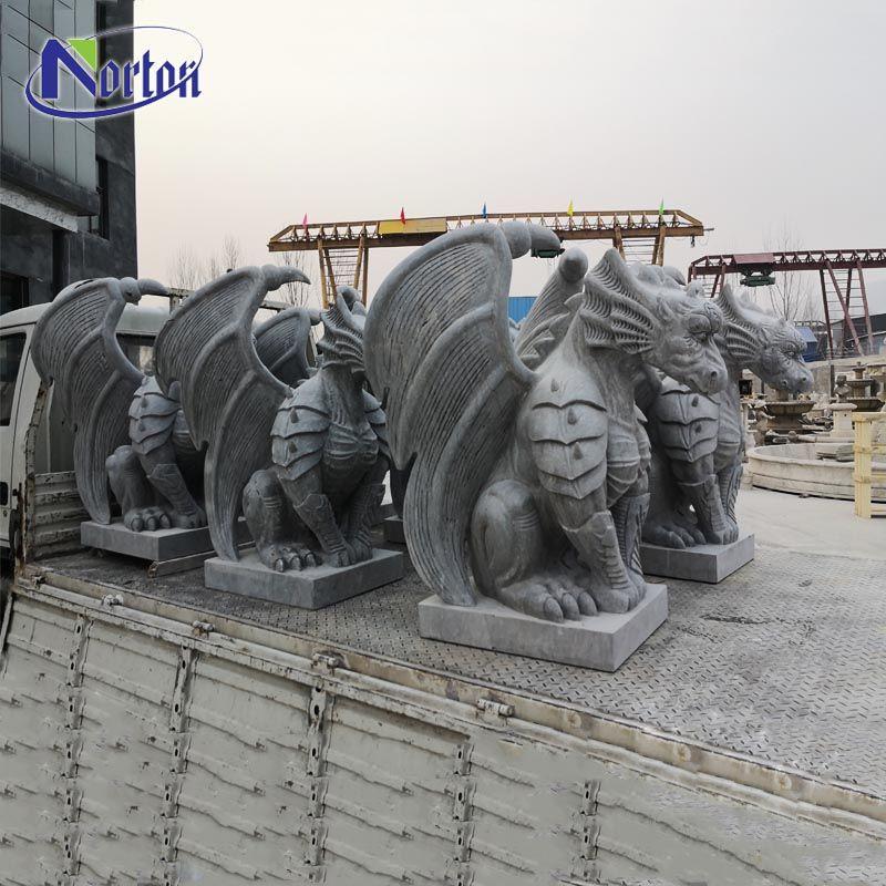 Highly detailed poised personalized custom outdoor garden granite stone marble gargoyle statue