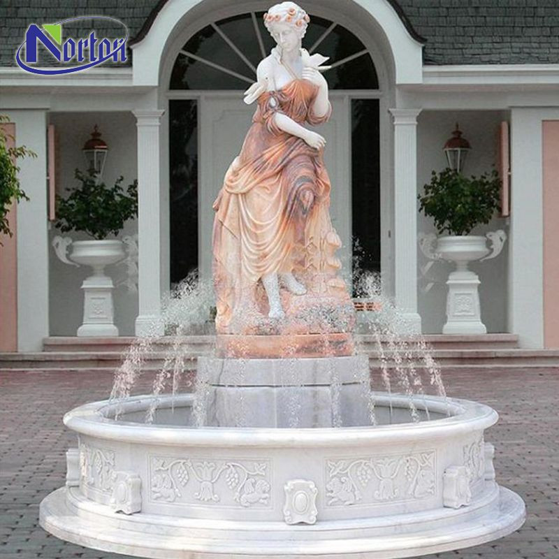 Hand-carved outdoor garden decor elegant mixed marble lady water fountain with round pool