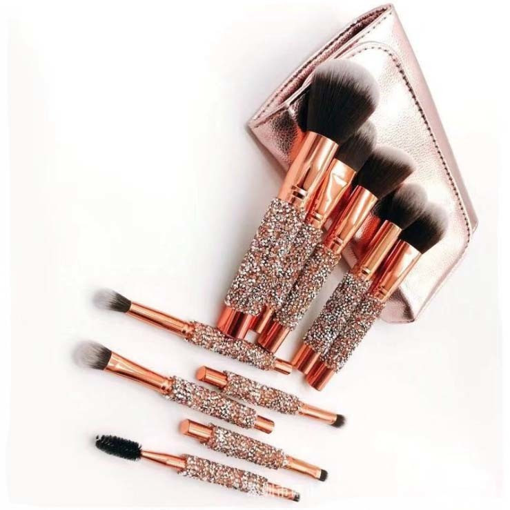 10PCS Synthetic Hair Cosmetic Brush Set with PU Bag